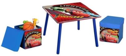 Disney Biler / Cars McQueen Bord og 2 stk. skammel med opbevaring