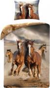 Running Horses Sengetøj 2i1 Design - 100 Procent Bomuld