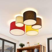 Lindby Laurenz loftlampe, 5 lk., 90 cm, rød-gul