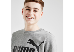Puma     Core Logo Crew Sweatshirt Junior - Grey - Kids