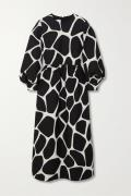 Valentino - Printed Wool And Silk-blend Crepe Midi Dress - Ivory