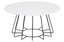 Casia sofabord - hvid glas, sort stel, rundt (Ø:80)