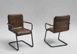BODAHL Franco spisebordsstol - mørkebrunt læder, m. arml&...